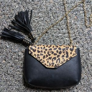 Zara Black Leopard Cross Body Bag